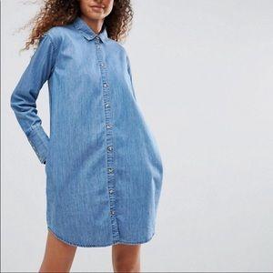 ASOS Denim Shirt Dress Button Front Size 0